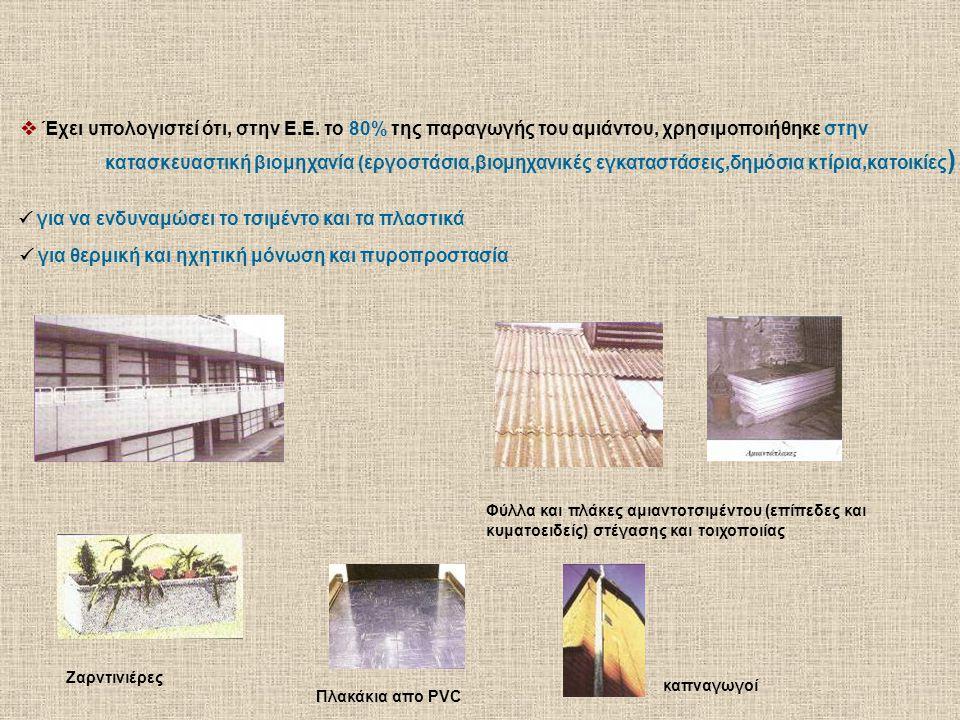  Έχει υπολογιστεί ότι, στην Ε.Ε. το 80% της παραγωγής του αμιάντου, χρησιμοποιήθηκε στην κατασκευαστική βιομηχανία (εργοστάσια,βιομηχανικές εγκαταστά