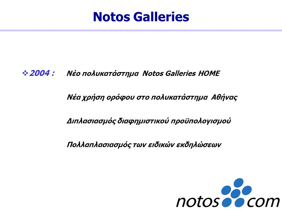  2004 : Νέο πολυκατάστημα Notos Galleries HOME Νέα χρήση ορόφου στο πολυκατάστημα Αθήνας Διπλασιασμός διαφημιστικού προϋπολογισμού Πολλαπλασιασμός τω