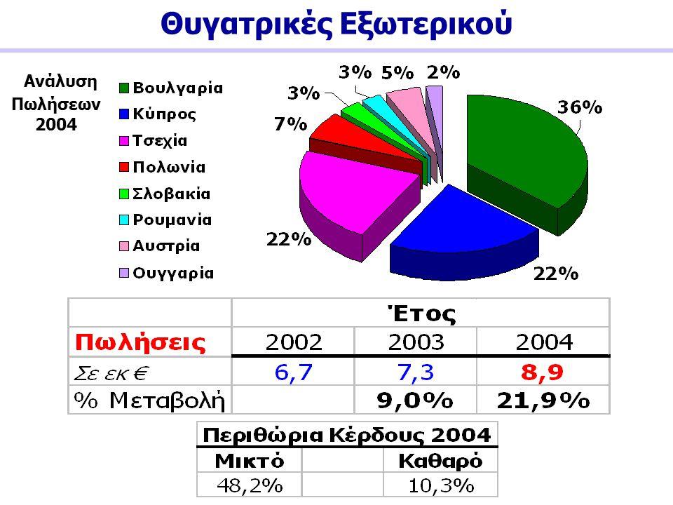 Θυγατρικές Εξωτερικού Ανάλυση Πωλήσεων 2004
