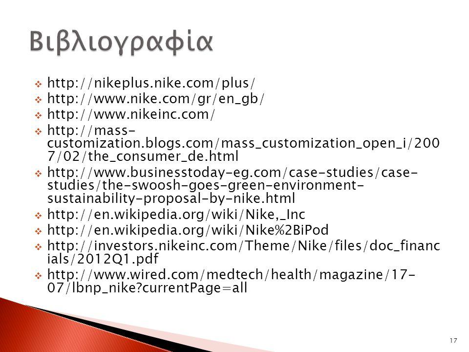  http://nikeplus.nike.com/plus/  http://www.nike.com/gr/en_gb/  http://www.nikeinc.com/  http://mass- customization.blogs.com/mass_customization_open_i/200 7/02/the_consumer_de.html  http://www.businesstoday-eg.com/case-studies/case- studies/the-swoosh-goes-green-environment- sustainability-proposal-by-nike.html  http://en.wikipedia.org/wiki/Nike,_Inc  http://en.wikipedia.org/wiki/Nike%2BiPod  http://investors.nikeinc.com/Theme/Nike/files/doc_financ ials/2012Q1.pdf  http://www.wired.com/medtech/health/magazine/17- 07/lbnp_nike?currentPage=all 17