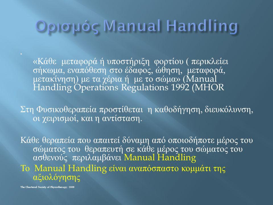  Εργοδότης : Οφείλει να γνωρίζει το Manual Handling  Να προστατεύει τους εργαζόμενους από περιττή και επικίνδυνη διακίνηση φορτίου  Να κάνει την γενική αξιολόγηση κινδύνων κάνοντας τις κατάλληλες τροποποιήσεις στο περιβάλλον  Να εκπαιδεύσει τους εργαζόμενους  Να παρέχει το κατάλληλο εξοπλισμό  Προστατεύει τους εργαζόμενους με κάποιο πρόβλημα υγείας  Κρατά αρχείο αξιολογήσεων τραυματισμών