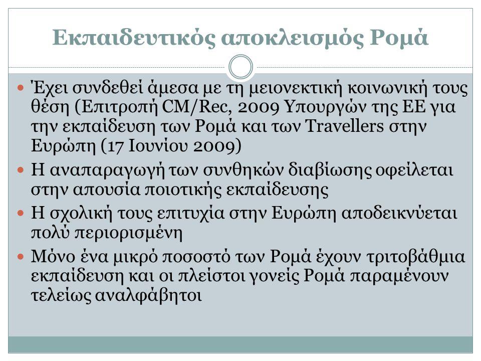 Εκπαιδευτικός αποκλεισμός Ρομά  Έχει συνδεθεί άμεσα με τη μειονεκτική κοινωνική τους θέση (Επιτροπή CM/Rec, 2009 Υπουργών της ΕΕ για την εκπαίδευση τ