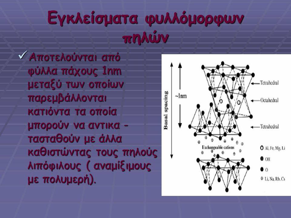 Εγκλείσματα φυλλόμορφων πηλών  Αποτελούνται από φύλλα πάχους 1nm φύλλα πάχους 1nm μεταξύ των οποίων μεταξύ των οποίων παρεμβάλλονται παρεμβάλλονται κ