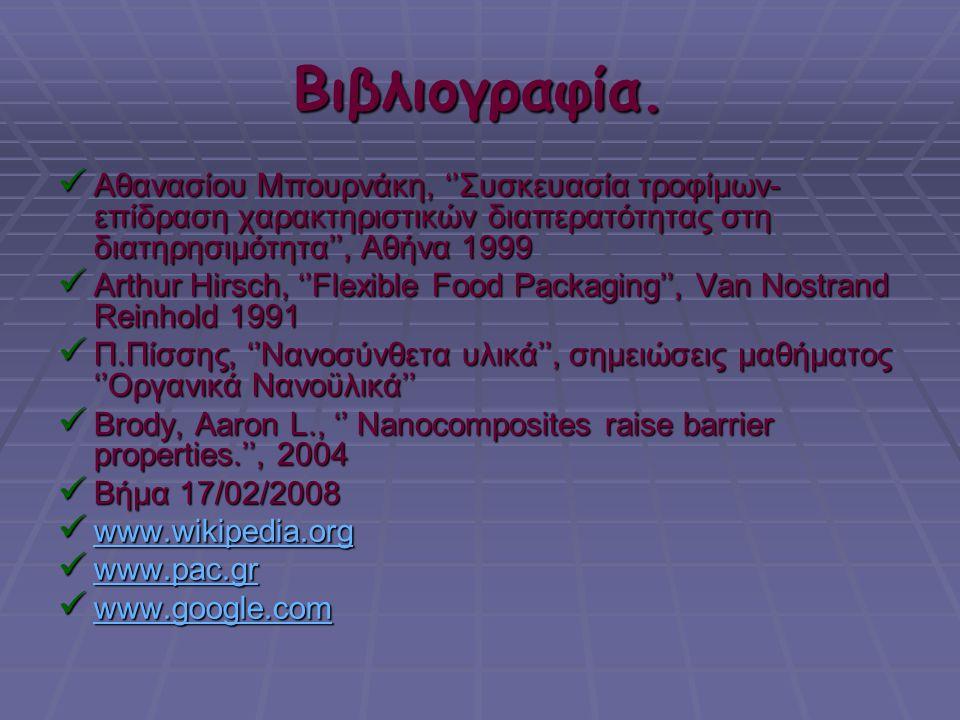 Βιβλιογραφία.  Αθανασίου Μπουρνάκη, ''Συσκευασία τροφίμων- επίδραση χαρακτηριστικών διαπερατότητας στη διατηρησιμότητα'', Αθήνα 1999  Arthur Hirsch,