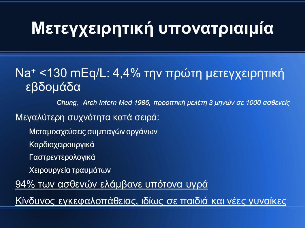 Μετεγχειρητική υπονατριαιμία Na + <130 mEq/L: 4,4% την πρώτη μετεγχειρητική εβδομάδα Chung, Arch Intern Med 1986, προοπτική μελέτη 3 μηνών σε 1000 ασθ