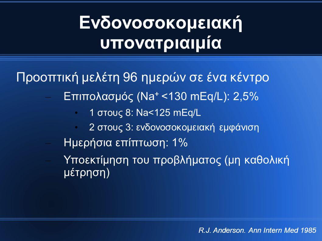 Ενδονοσοκομειακή υπονατριαιμία Προοπτική μελέτη 96 ημερών σε ένα κέντρο – Επιπολασμός (Na + <130 mEq/L): 2,5% • 1 στους 8: Na<125 mEq/L • 2 στους 3: ε