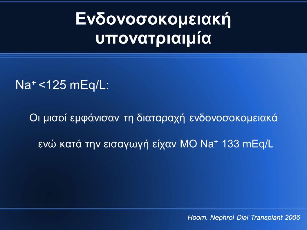 Ενδονοσοκομειακή υπονατριαιμία Νa + <125 mEq/L: Οι μισοί εμφάνισαν τη διαταραχή ενδονοσοκομειακά ενώ κατά την εισαγωγή είχαν ΜΟ Na + 133 mEq/L Hoorn.