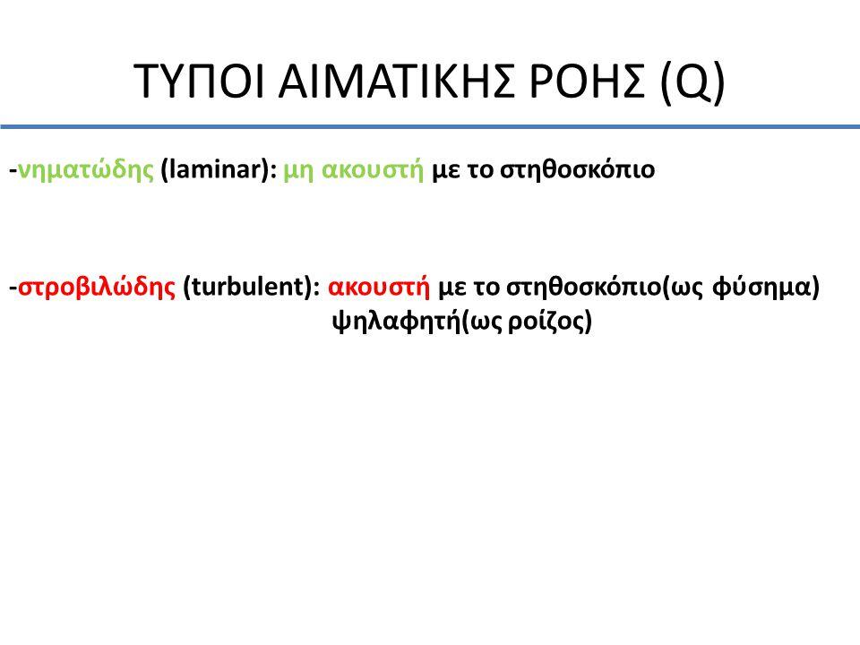 ΤΥΠΟΙ ΑΙΜΑΤΙΚΗΣ ΡΟΗΣ (Q) -νηματώδης (laminar): μη ακουστή με το στηθοσκόπιο -στροβιλώδης (turbulent): ακουστή με το στηθοσκόπιο(ως φύσημα) ψηλαφητή(ως