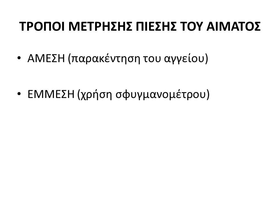 ΤΡΟΠΟΙ ΜΕΤΡΗΣΗΣ ΠΙΕΣΗΣ ΤΟΥ ΑΙΜΑΤΟΣ • AMEΣΗ (παρακέντηση του αγγείου) • ΕΜΜΕΣΗ (χρήση σφυγμανομέτρου)