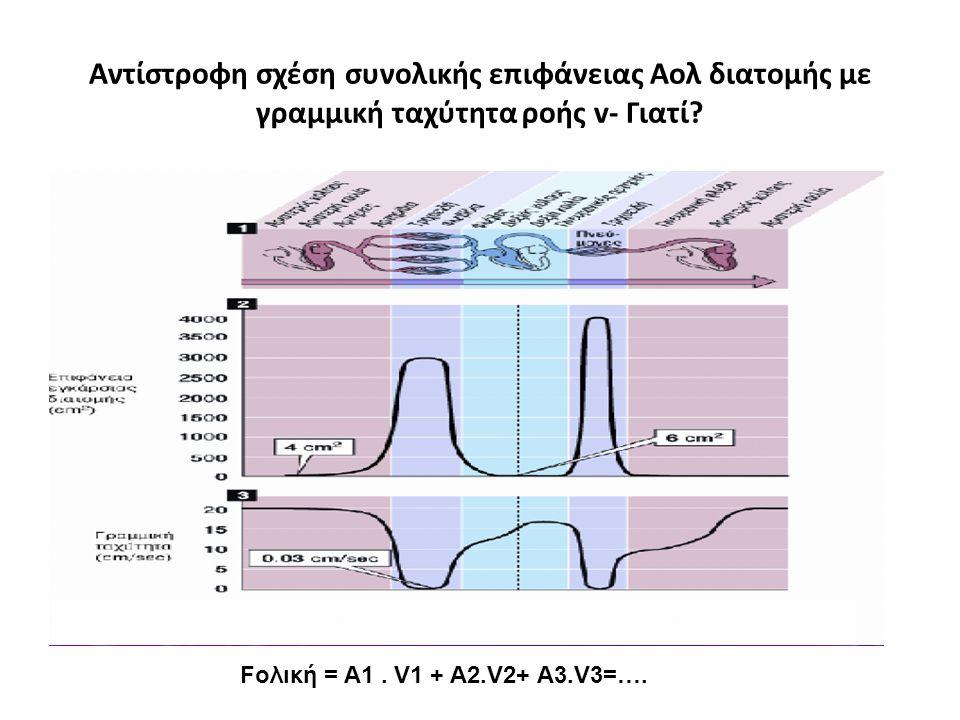 Αντίστροφη σχέση συνολικής επιφάνειας Αολ διατομής με γραμμική ταχύτητα ροής v- Γιατί? Fολική = Α1. V1 + A2.V2+ A3.V3=….