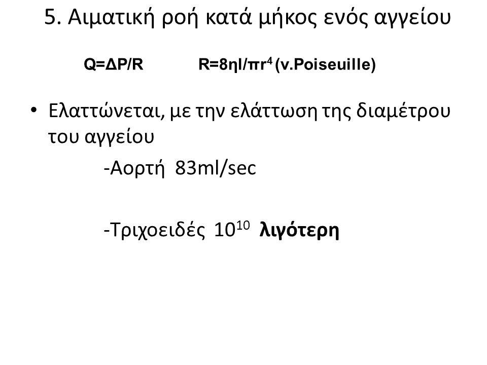 5. Aιματική ροή κατά μήκος ενός αγγείου • Ελαττώνεται, με την ελάττωση της διαμέτρου του αγγείου -Aορτή 83ml/sec -Tριχοειδές 10 10 λιγότερη Q=ΔP/R R=8