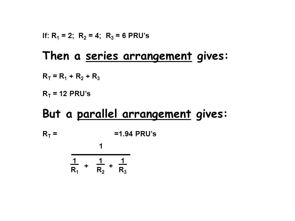 If: R 1 = 2; R 2 = 4; R 3 = 6 PRU's Then a series arrangement gives: R T = R 1 + R 2 + R 3 R T = 12 PRU's But a parallel arrangement gives: R T = =1.9