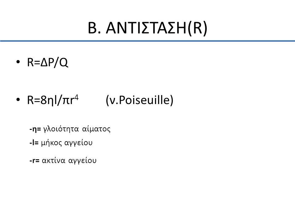 Β. ΑΝΤΙΣΤΑΣΗ(R) • R=ΔP/Q • R=8ηl/πr 4 (ν.Poiseuille) -η= γλοιότητα αίματος -l= μήκος αγγείου -r= ακτίνα αγγείου