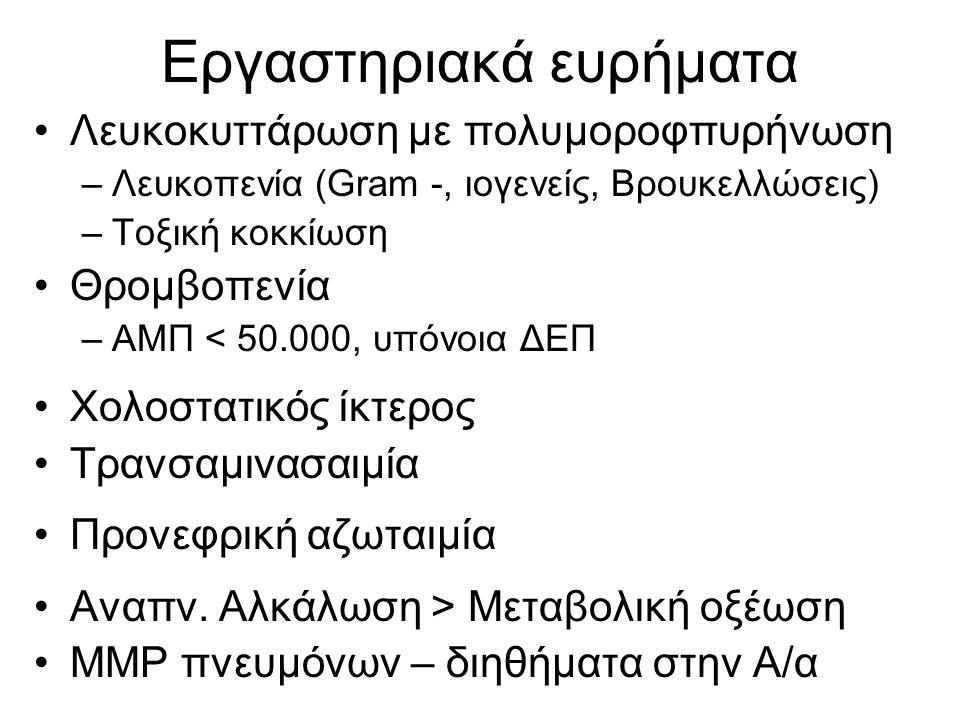 Εργαστηριακά ευρήματα •Λευκοκυττάρωση με πολυμοροφπυρήνωση –Λευκοπενία (Gram -, ιογενείς, Βρουκελλώσεις) –Τοξική κοκκίωση •Θρομβοπενία –ΑΜΠ < 50.000,