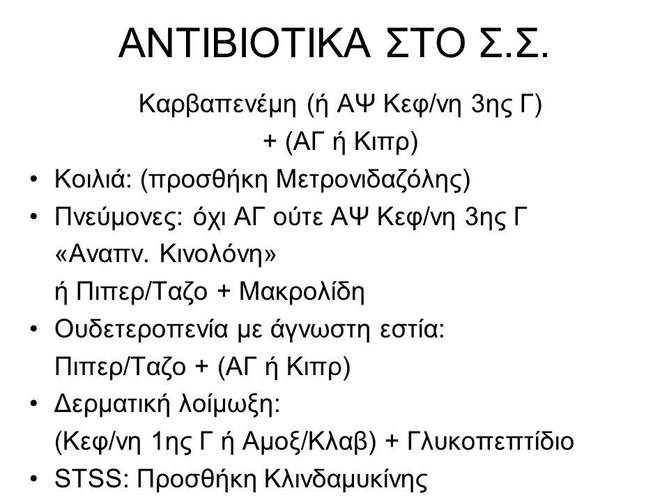 ΑΝΤΙΒΙΟΤΙΚΑ ΣΤΟ Σ.Σ. Καρβαπενέμη (ή ΑΨ Κεφ/νη 3ης Γ) + (ΑΓ ή Κιπρ) •Κοιλιά: (προσθήκη Μετρονιδαζόλης) •Πνεύμονες: όχι ΑΓ ούτε ΑΨ Κεφ/νη 3ης Γ «Αναπν.
