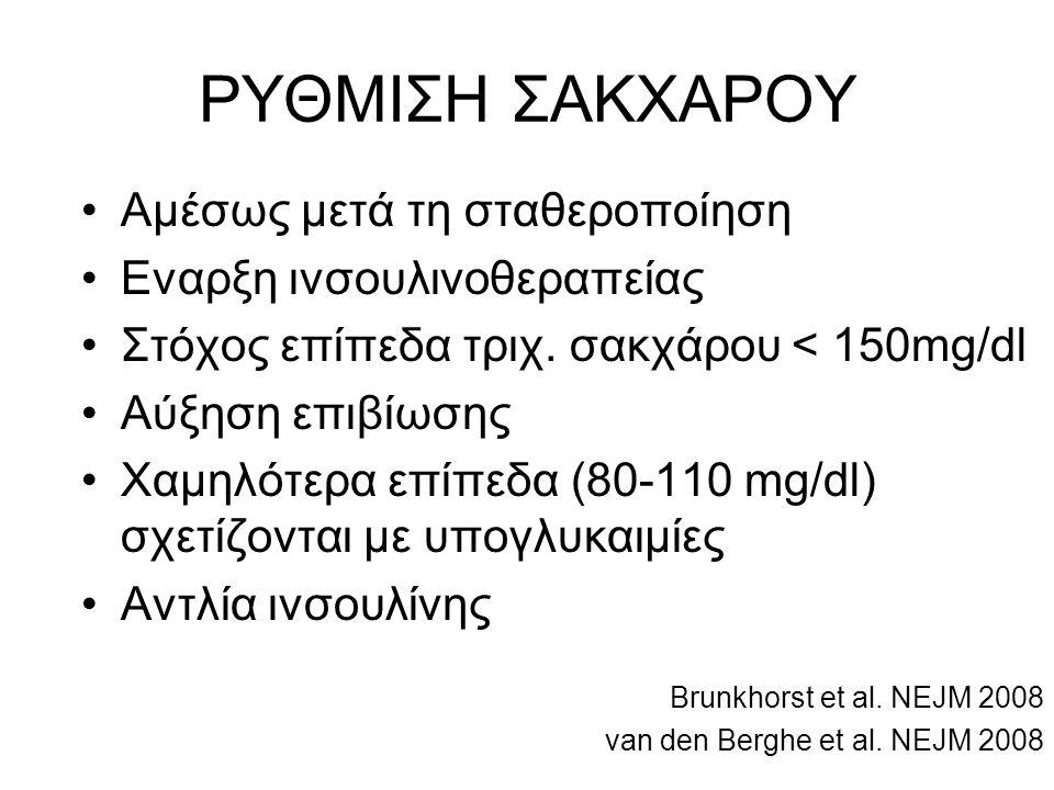 ΡΥΘΜΙΣΗ ΣΑΚΧΑΡΟΥ •Αμέσως μετά τη σταθεροποίηση •Εναρξη ινσουλινοθεραπείας •Στόχος επίπεδα τριχ. σακχάρου < 150mg/dl •Αύξηση επιβίωσης •Χαμηλότερα επίπ