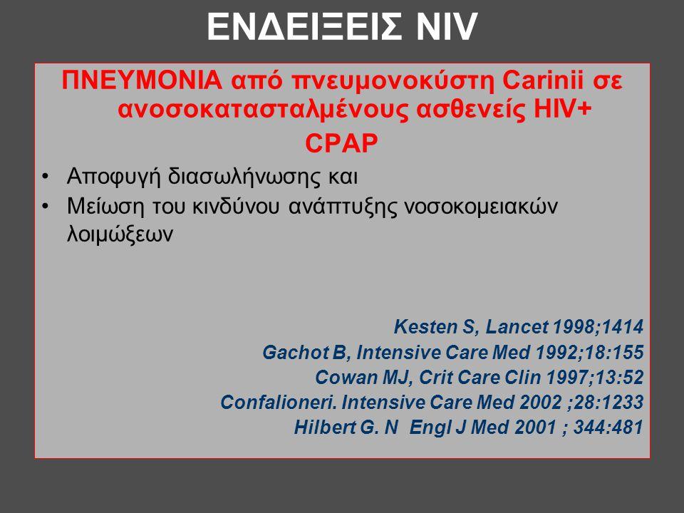 ΕΝΔΕΙΞΕΙΣ NIV ΠΝΕΥΜΟΝΙΑ από πνευμονοκύστη Carinii σε ανοσοκατασταλμένους ασθενείς HIV+ CPAP •Αποφυγή διασωλήνωσης και •Μείωση του κινδύνου ανάπτυξης ν