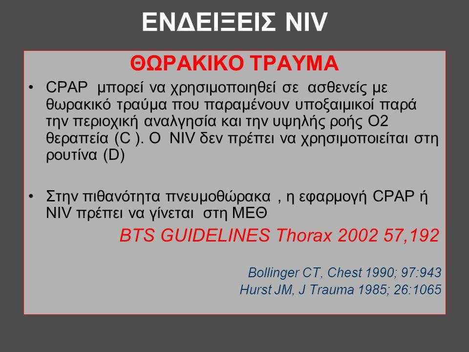 ΕΝΔΕΙΞΕΙΣ NIV ΘΩΡΑΚΙΚΟ ΤΡΑΥΜΑ •CPAP μπορεί να χρησιμοποιηθεί σε ασθενείς με θωρακικό τραύμα που παραμένουν υποξαιμικοί παρά την περιοχική αναλγησία κα