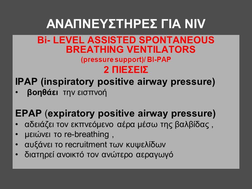 ΑΝΑΠΝΕΥΣΤΗΡΕΣ ΓΙΑ ΝΙV Βi- LEVEL ASSISTED SPONTANEOUS BREATHING VENTILATORS (pressure support)/ ΒI-PAP 2 ΠΙΕΣΕΙΣ ΙΡΑΡ (inspiratory positive airway pres