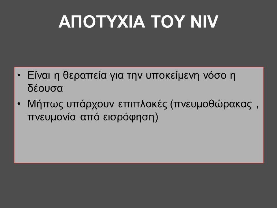 AΠOTYXIA ΤΟΥ NIV •Eίναι η θεραπεία για την υποκείμενη νόσο η δέουσα •Μήπως υπάρχουν επιπλοκές (πνευμοθώρακας, πνευμονία από εισρόφηση)