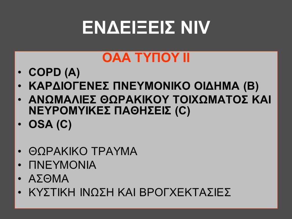 ΕΝΔΕΙΞΕΙΣ NIV ΟAA TYΠΟΥ ΙΙ •COPD (A) •ΚΑΡΔΙΟΓΕΝΕΣ ΠΝΕΥΜΟΝΙΚΟ ΟΙΔΗΜΑ (B) •ΑΝΩΜΑΛΙΕΣ ΘΩΡΑΚΙΚΟΥ ΤΟΙΧΩΜΑΤΟΣ ΚΑΙ ΝΕΥΡΟΜΥΙΚΕΣ ΠΑΘΗΣΕΙΣ (C) •OSA (C) •ΘΩΡΑΚΙΚ