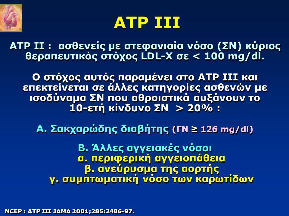 ATP II : ασθενείς με στεφανιαία νόσο (ΣΝ) κύριος θεραπευτικός στόχος LDL-Χ σε 20% : Α. Σακχαρώδης διαβήτης (ΓΝ ≥ 126 mg/dl) Β. Άλλες αγγειακές νόσοι α