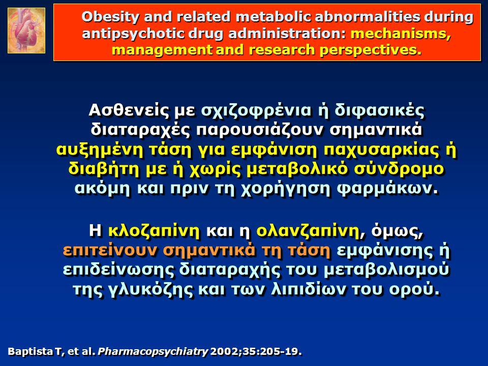 Baptista T, et al. Pharmacopsychiatry 2002;35:205-19. Ασθενείς με σχιζοφρένια ή διφασικές διαταραχές παρουσιάζουν σημαντικά αυξημένη τάση για εμφάνιση