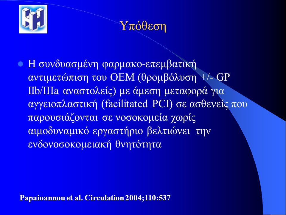 Υπόθεση  Η συνδυασμένη φαρμακο-επεμβατική αντιμετώπιση του ΟΕΜ (θρομβόλυση +/- GP IIb/IIIa αναστολείς) με άμεση μεταφορά για αγγειοπλαστική (facilita