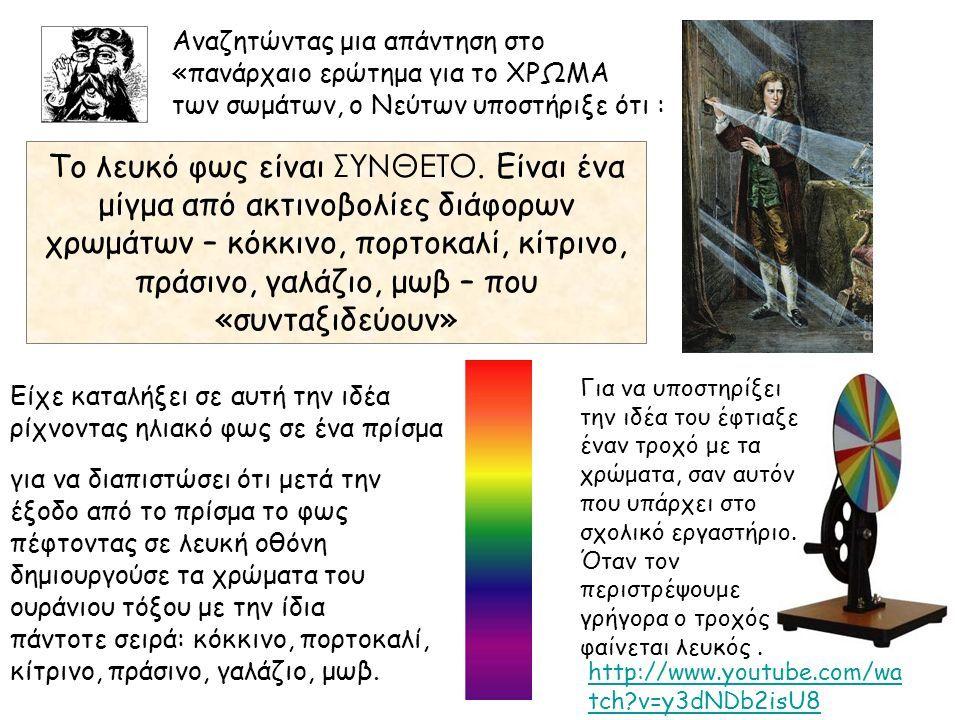 Αναζητώντας μια απάντηση στο «πανάρχαιο ερώτημα για το ΧΡΩΜΑ των σωμάτων, ο Νεύτων υποστήριξε ότι : Το λευκό φως είναι ΣΥΝΘΕΤΟ.