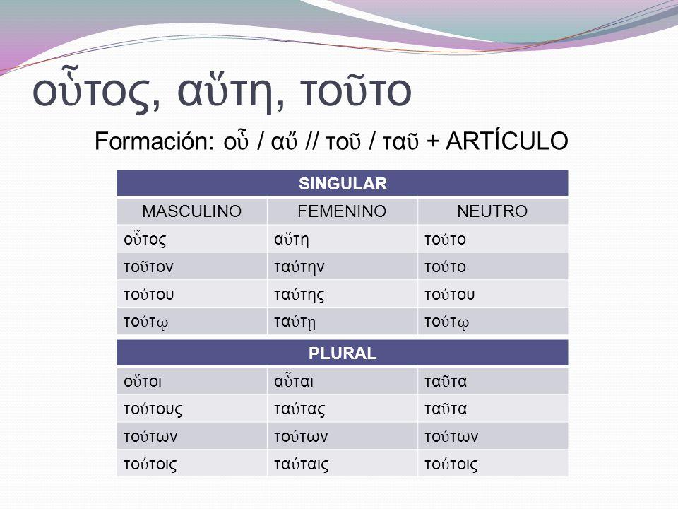ἐ κε ῖ νος, η, ον Coincide con la declinación de ἀ γαθ ό ς, η, ον, a excepción del nominativo y el acusativo singular neutro (ο en lugar de ον).