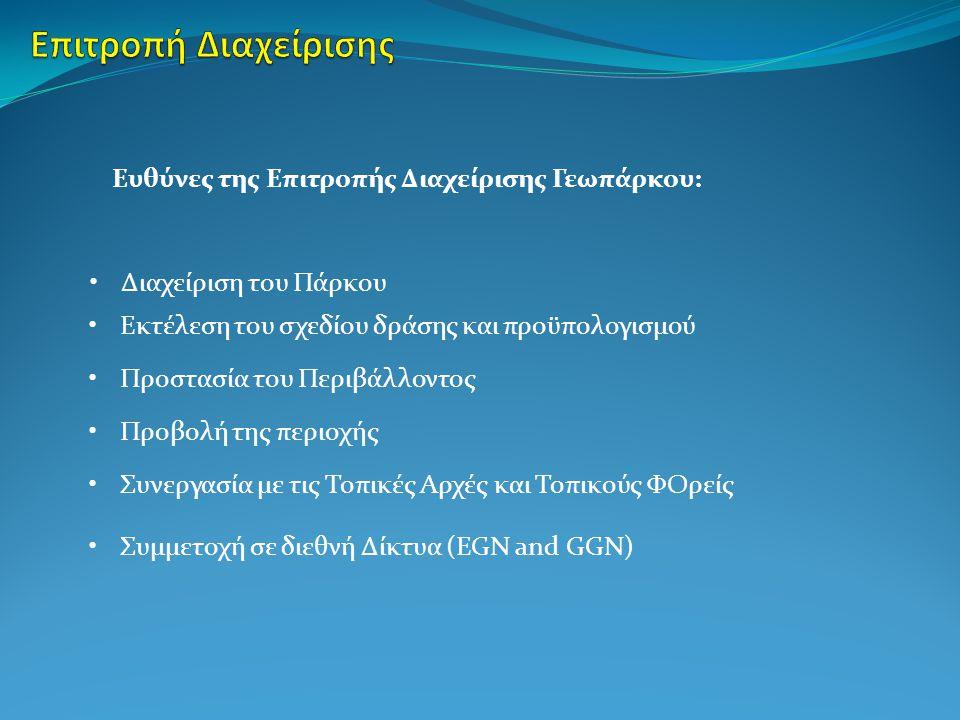 Επιτροπή Διαχείρισης Γεωπάρκου: 2 μέλη από το ΑΚΟΜΜ ΑΕ, Πρόεδρος ο Πρόεδρος του ΑΚΟΜΜ 1 μέλος από το Πανεπιστήμιο Κρήτης – Μουσείο Φυσικής Ιστορίας, από τις Δνσεις Περιβάλλοντος και Δασών της Περιφέρειας Κρήτης, από τα ΚΠΕ της περιοχής, από το ΓΕΩΤΕΕ/Π.Κ.
