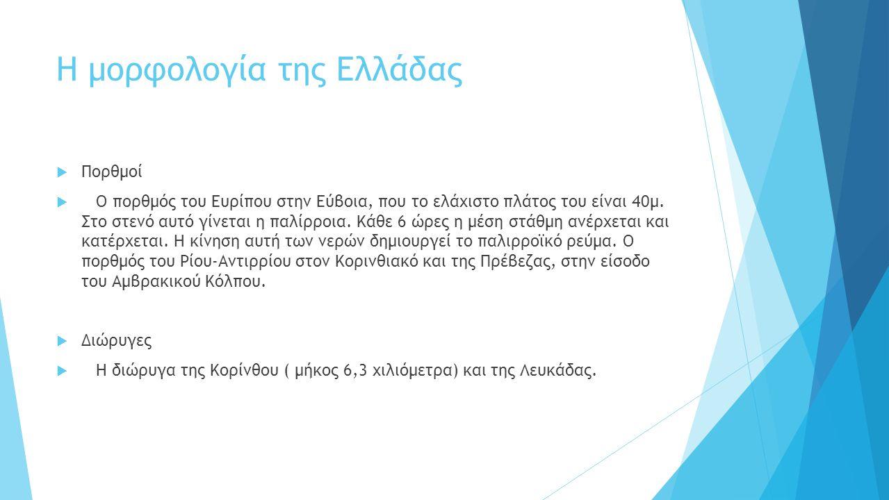 Η μορφολογία της Ελλάδας  Πορθμοί  Ο πορθμός του Ευρίπου στην Εύβοια, που το ελάχιστο πλάτος του είναι 40μ.