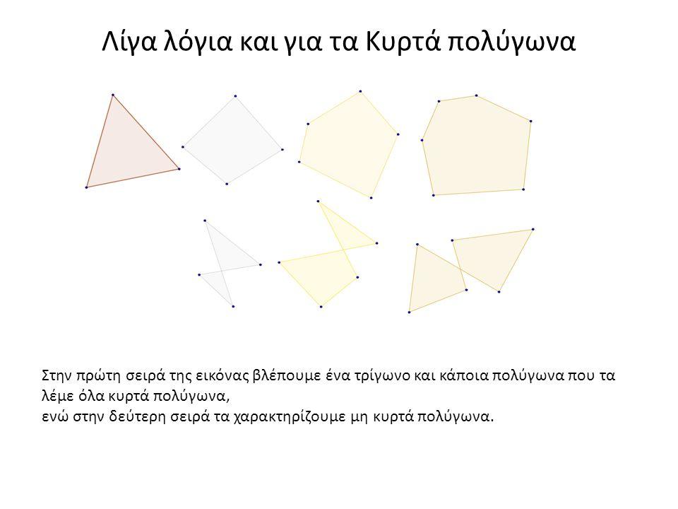 Λίγα λόγια και για τα Κυρτά πολύγωνα Στην πρώτη σειρά της εικόνας βλέπουμε ένα τρίγωνο και κάποια πολύγωνα που τα λέμε όλα κυρτά πολύγωνα, ενώ στην δε