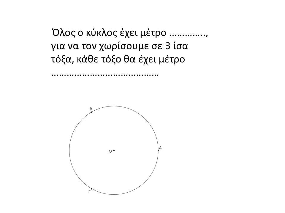Όλος ο κύκλος έχει μέτρο ………….., για να τον χωρίσουμε σε 3 ίσα τόξα, κάθε τόξο θα έχει μέτρο ……………………………………