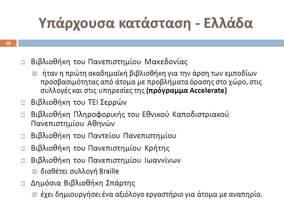 Υπάρχουσα κατάσταση - Ελλάδα  Βιβλιοθήκη του Πανεπιστημίου Μακεδονίας  ήταν η πρώτη ακαδημαϊκή βιβλιοθήκη για την άρση των εμποδίων προσβασιμότητας