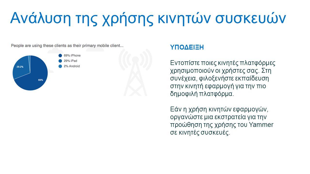 Ανάλυση της χρήσης κινητών συσκευών ΥΠΟΔΕΙΞΗ Εντοπίστε ποιες κινητές πλατφόρμες χρησιμοποιούν οι χρήστες σας.