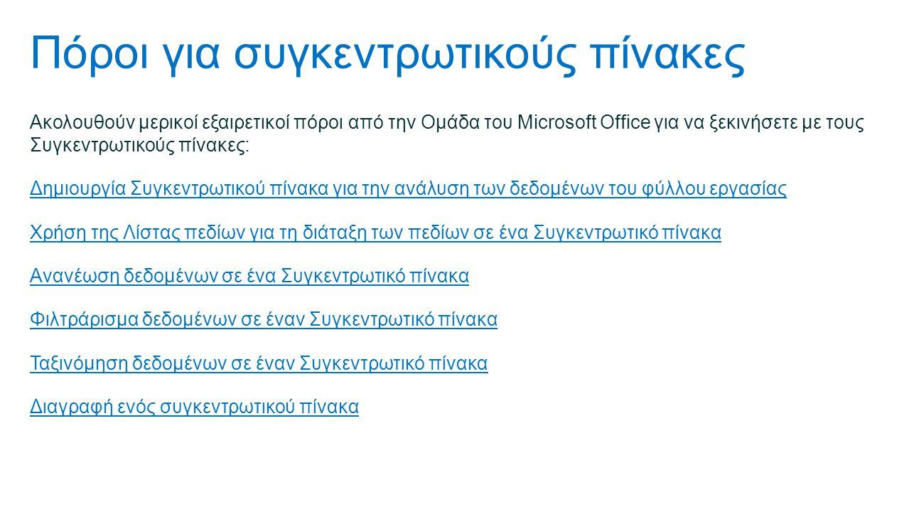 Πόροι για συγκεντρωτικούς πίνακες Ακολουθούν μερικοί εξαιρετικοί πόροι από την Ομάδα του Microsoft Office για να ξεκινήσετε με τους Συγκεντρωτικούς πίνακες: Δημιουργία Συγκεντρωτικού πίνακα για την ανάλυση των δεδομένων του φύλλου εργασίας Χρήση της Λίστας πεδίων για τη διάταξη των πεδίων σε ένα Συγκεντρωτικό πίνακα Ανανέωση δεδομένων σε ένα Συγκεντρωτικό πίνακα Φιλτράρισμα δεδομένων σε έναν Συγκεντρωτικό πίνακα Ταξινόμηση δεδομένων σε έναν Συγκεντρωτικό πίνακα Διαγραφή ενός συγκεντρωτικού πίνακα