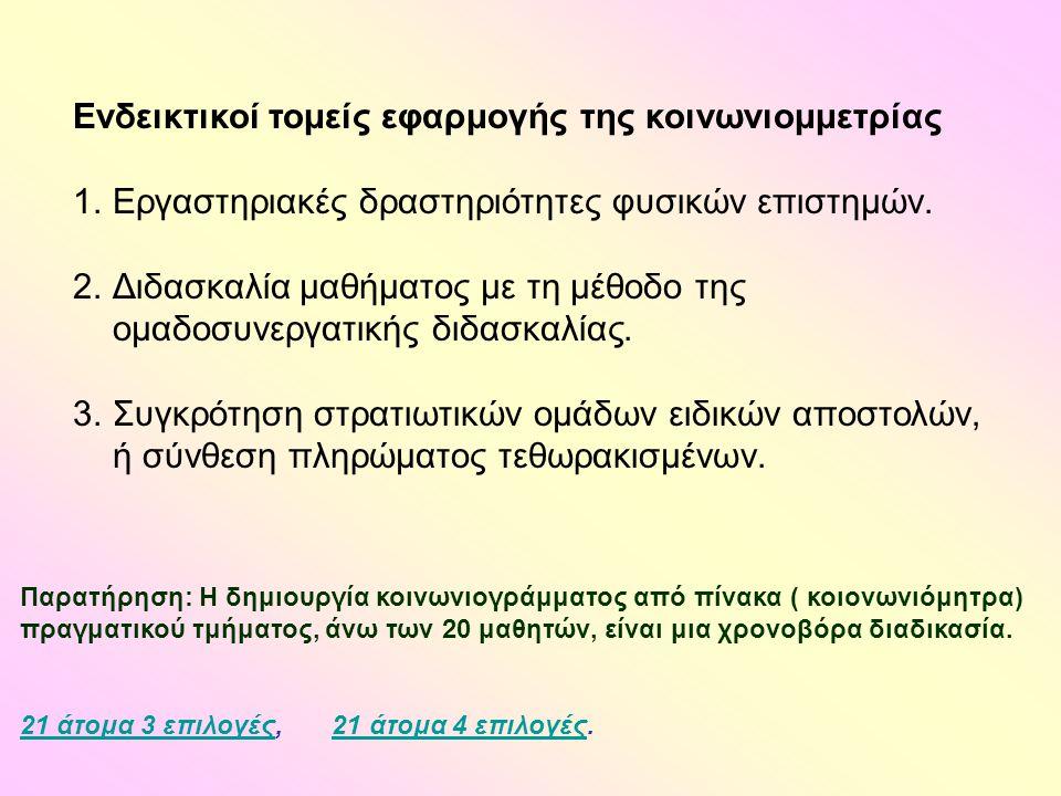 Ενδεικτικοί τομείς εφαρμογής της κοινωνιομμετρίας 1.Εργαστηριακές δραστηριότητες φυσικών επιστημών.