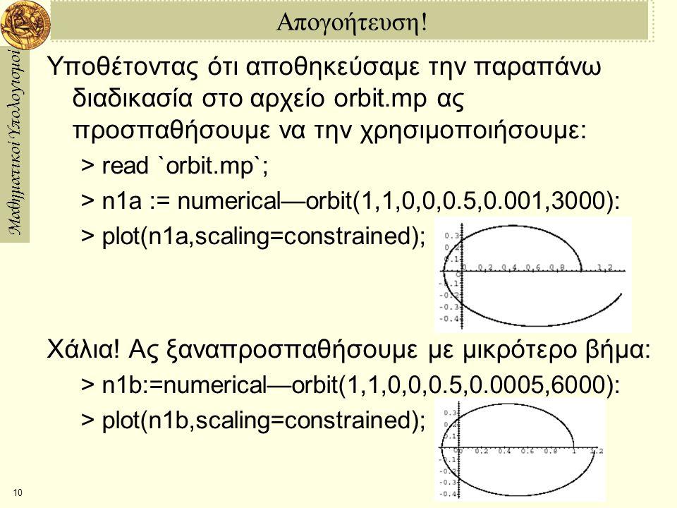 Μαθηματικοί Υπολογισμοί 10 Απογοήτευση! Υποθέτοντας ότι αποθηκεύσαμε την παραπάνω διαδικασία στο αρχείο orbit.mp ας προσπαθήσουμε να την χρησιμοποιήσο
