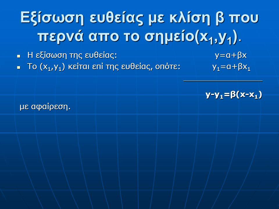 Δύο Γνωστά Σημεία Αν είναι γνωστά δύο σημεία μιάς ευθείας καμπύλης ζήτησης, (Q 1,P 1 ) και (Q 2,P 2 ), τότε, η εξίσωση της ευθείας βρίσκεται απο την σ