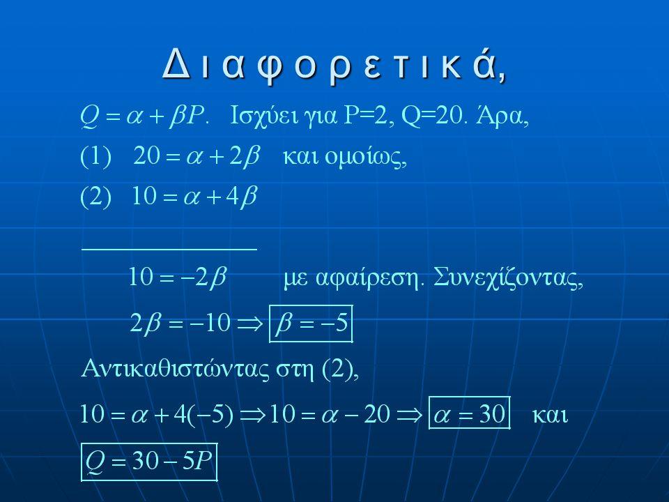 Παράδειγμα Να προσδιοριστεί η γραμμική συνάρτηση ζήτησης. Να προσδιοριστεί η γραμμική συνάρτηση ζήτησης. PQDQD 220 41010