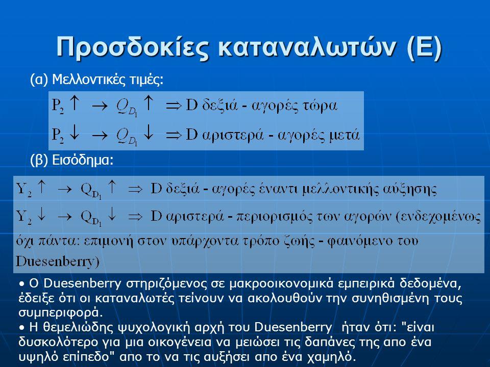 Συμπληρωματικά αγαθά Συμπληρωματικά αγαθά (PC): Η κατανάλωση του ενός απαιτεί και την κατανάλωση του άλλου. P C  Q D(C)  Q D  P C  Q D(C)