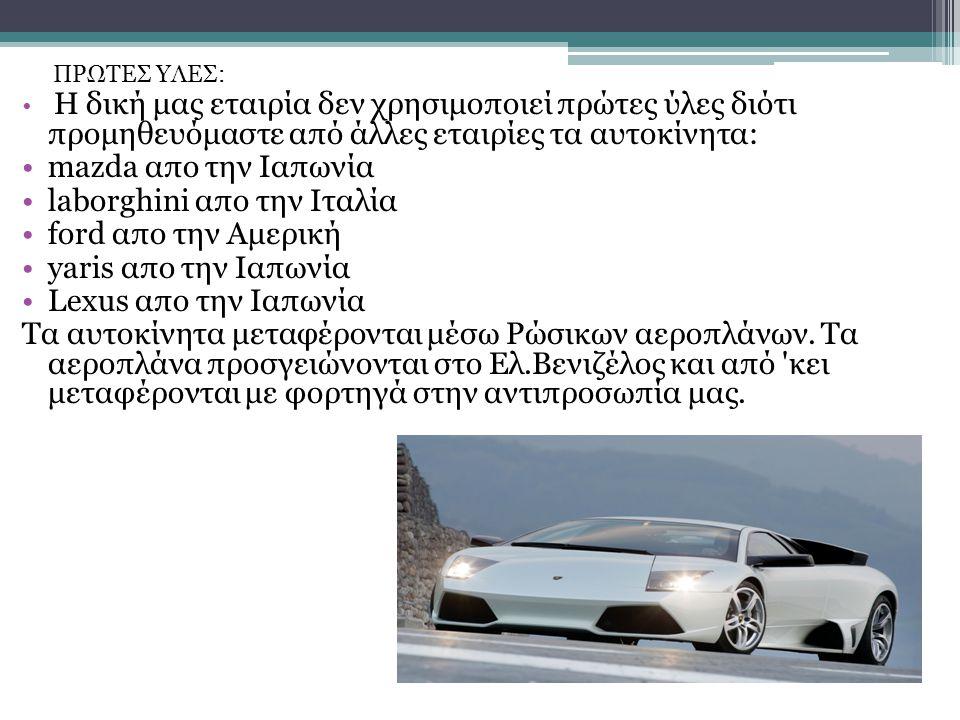 ΠΡΩΤΕΣ ΥΛΕΣ: Η δική μας εταιρία δεν χρησιμοποιεί πρώτες ύλες διότι προμηθευόμαστε από άλλες εταιρίες τα αυτοκίνητα: mazda απο την Ιαπωνία laborghini α