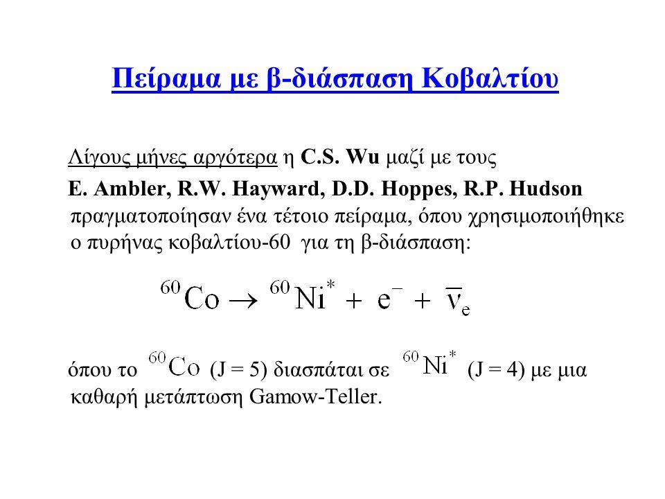 Πείραμα με β-διάσπαση Κοβαλτίου Λίγους μήνες αργότερα η C.S. Wu μαζί με τους E. Ambler, R.W. Hayward, D.D. Hoppes, R.P. Hudson πραγματοποίησαν ένα τέτ
