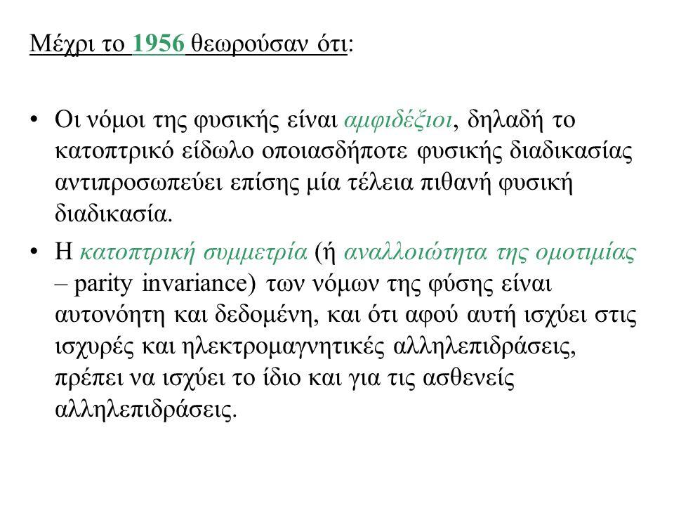 Μέχρι το 1956 θεωρούσαν ότι: Οι νόμοι της φυσικής είναι αμφιδέξιοι, δηλαδή το κατοπτρικό είδωλο οποιασδήποτε φυσικής διαδικασίας αντιπροσωπεύει επίσης