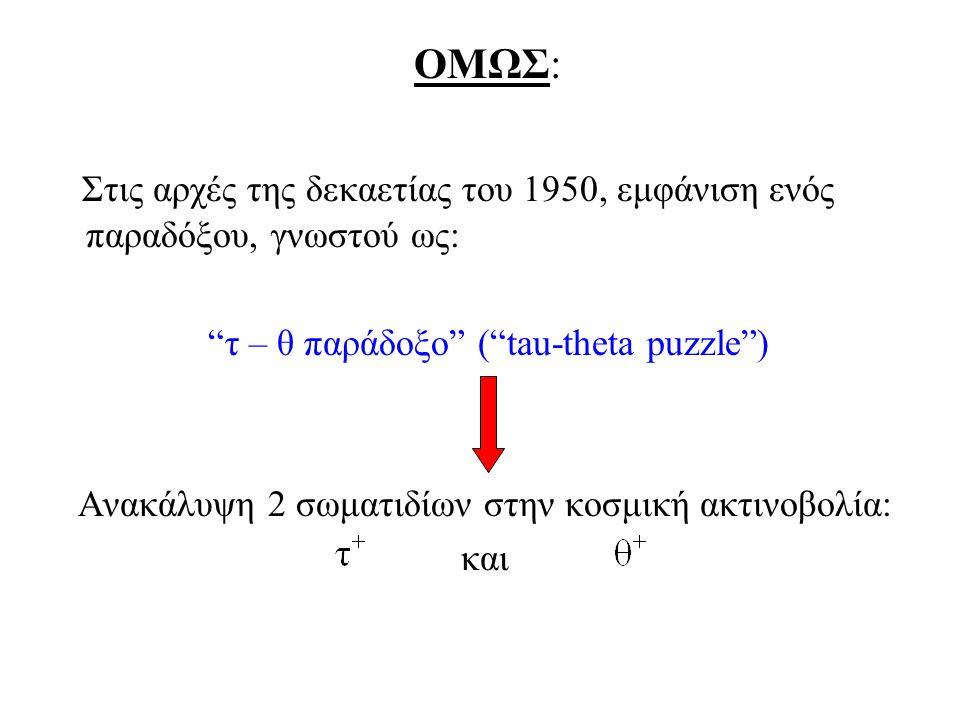 """ΟΜΩΣ: Στις αρχές της δεκαετίας του 1950, εμφάνιση ενός παραδόξου, γνωστού ως: """"τ – θ παράδοξο"""" (""""tau-theta puzzle"""") Ανακάλυψη 2 σωματιδίων στην κοσμικ"""
