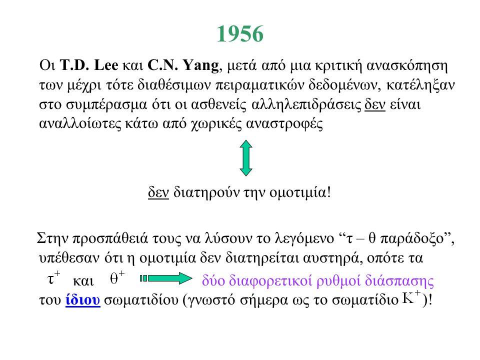 1956 Οι T.D. Lee και C.N. Yang, μετά από μια κριτική ανασκόπηση των μέχρι τότε διαθέσιμων πειραματικών δεδομένων, κατέληξαν στο συμπέρασμα ότι οι ασθε