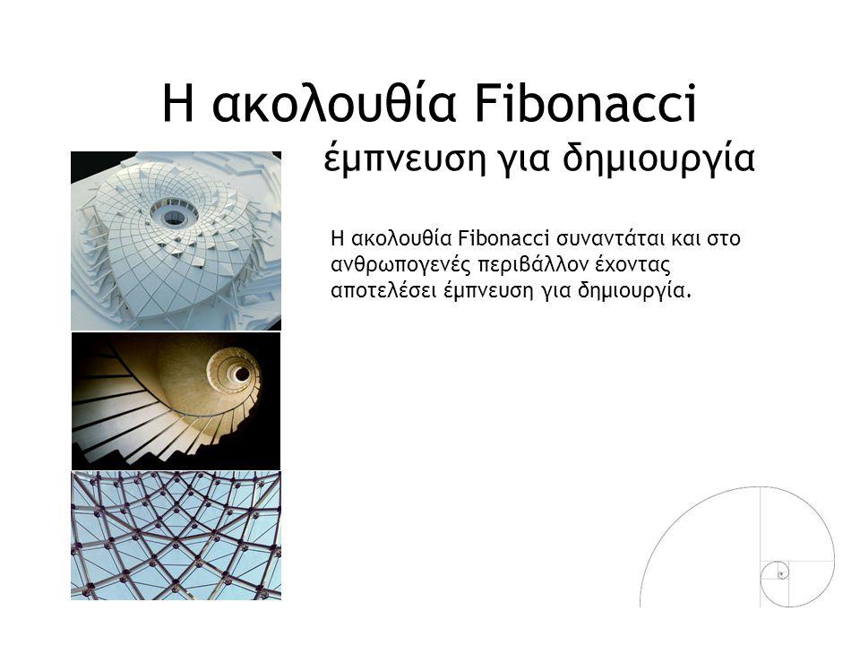 Η ακολουθία Fibonacci έμπνευση για δημιουργία Η ακολουθία Fibonacci συναντάται και στο ανθρωπογενές περιβάλλον έχοντας αποτελέσει έμπνευση για δημιουρ