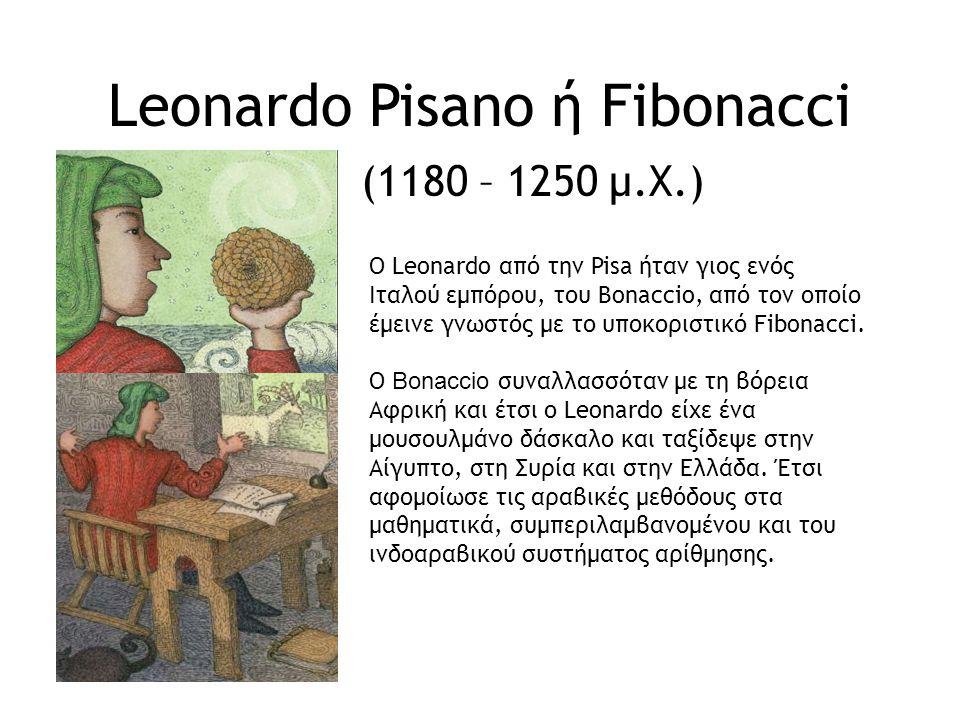 Liber Abaci το βιβλίο των υπολογισμών O Fibonacci εξέδωσε τo 1202 ένα βιβλίο με τίτλο Liber Abaci, το οποίο έμελε να γίνει ένα διάσημο κλασικό έργο.