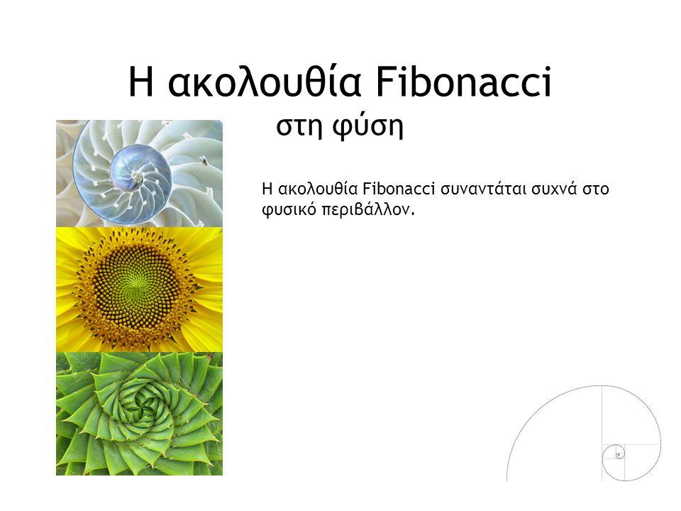 Η ακολουθία Fibonacci έμπνευση για δημιουργία Η ακολουθία Fibonacci συναντάται και στο ανθρωπογενές περιβάλλον έχοντας αποτελέσει έμπνευση για δημιουργία.